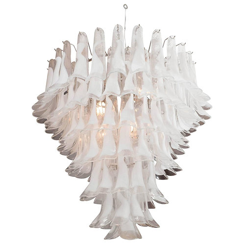 Huge Mazzega White and Clear Glass Petal Chandelier