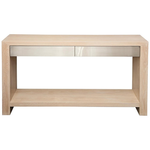 Bleached Oak Console with Brushed Stainless Steel Drawers
