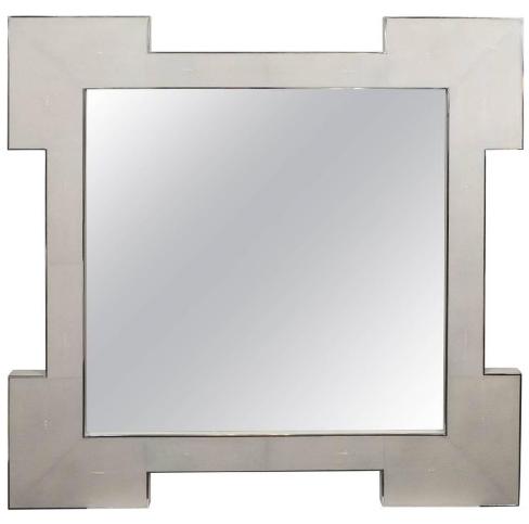 Custom Square Shagreen Mirror with Square Edges