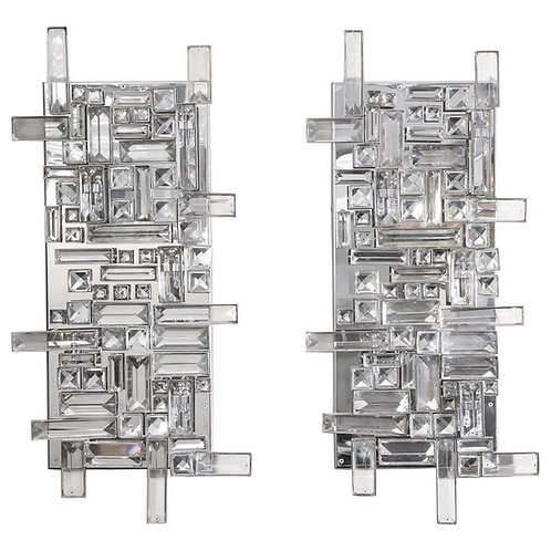Pair of Enormous Polished Nickel Sconces with Austrian Baguette Crystals