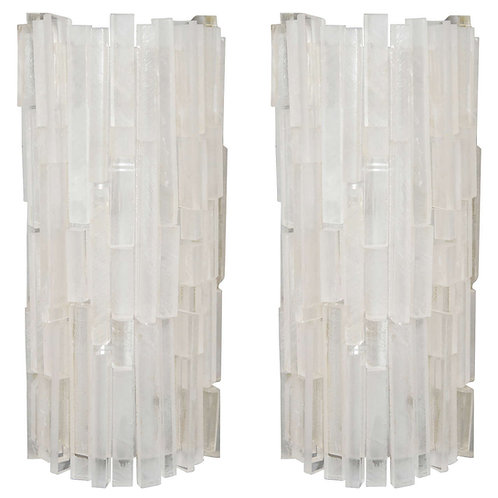 Pair of Custom Lucite Block Sconces