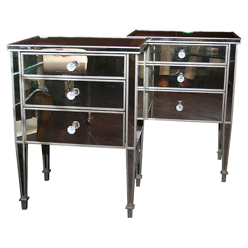 Pair of 3-Drawer Silver Trim Mirrored Nightstands