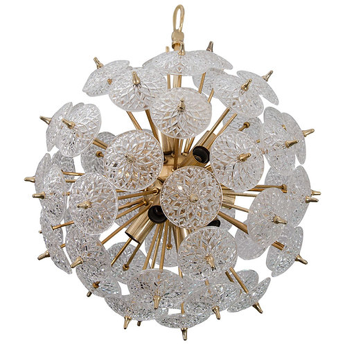 1970's Belgium Snowflake Glass Chandelier