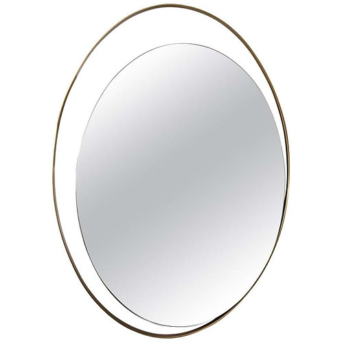 Floating Oval Mirror in Offset Brass Frame