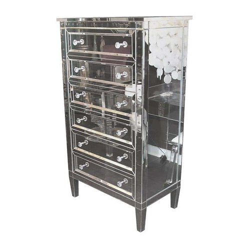 Neoclassical Modern 6-Drawer Beveled Mirrored Highboy