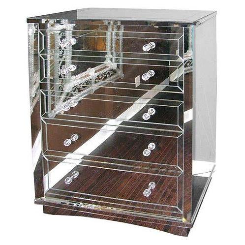 Neoclassical Modern 5-Drawer Mirrored Highboy