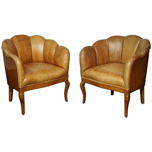 Pair of Vintage Leather Channel Back Petite Chairs
