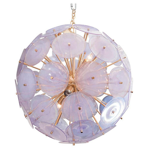Alex Iridescent Murano Glass Disc Sputnik Chandelier