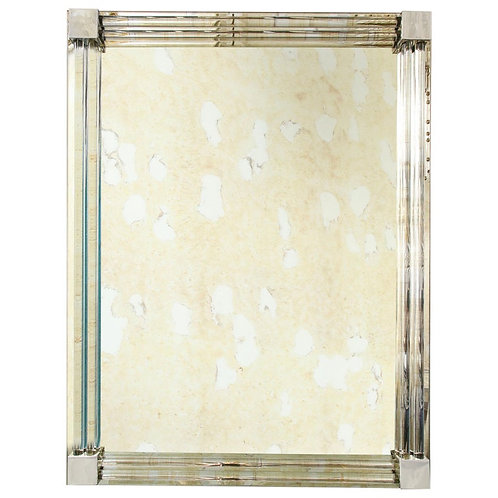 Custom Rectangular Mirror with Glass Rod Frame and Metal Accents