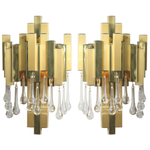 Pair of Gaetano Sciolari Brutalist Sconces with Glass Tear Drops