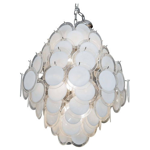 White Murano Glass Disc Chandelier in Double Cone Shape