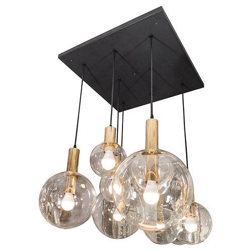 Custom 8 globe Brass and Black chandelier