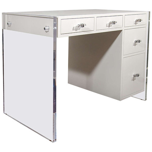 Custom White Lacquer Desk with Lucite Side Panels