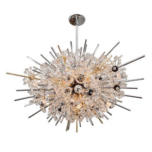 Crystal Oval Sputnik Chandelier with Ebonized Spheres