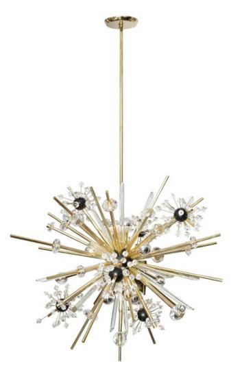 Brass and Austrian Crystal Sputnik Chandelier with Black Centre Spheres
