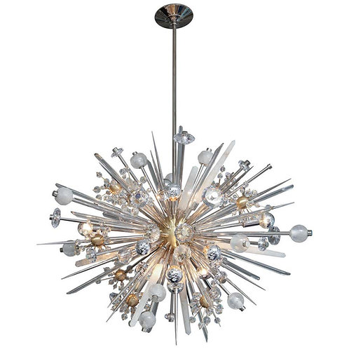 Custom Austrian Crystal and Rock Crystal Sputnik Chandelier