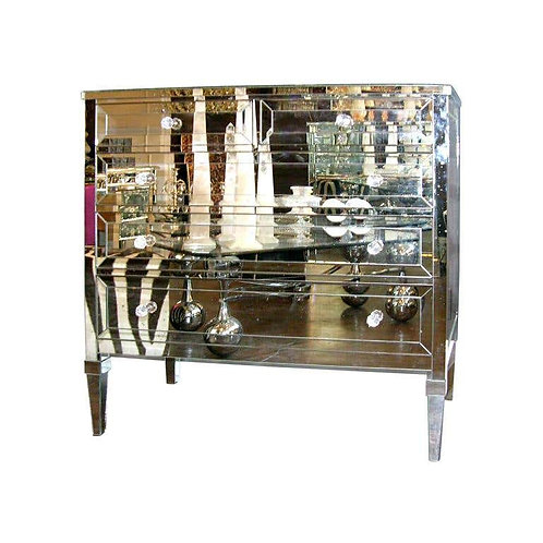 Neoclassical Modern 4-Drawer Mirrored Dresser