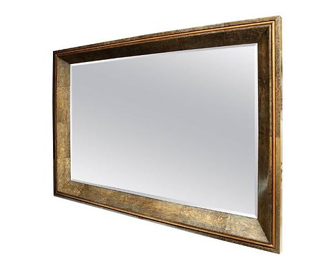 Enormous Coco Fiber Mirror with Orange Goatskin Insert