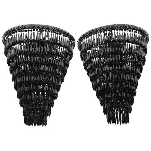 Pair of Custom Black Fringe Crystal Pendants
