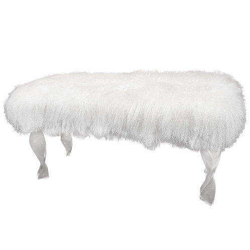 Custom Mongolian Fur Bench with Twisted Lucite Legs