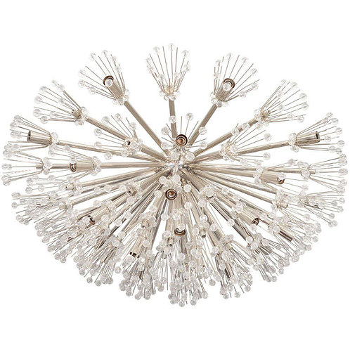 Large Ellipsoid Austrian Snowflake Crystal Flush Mount