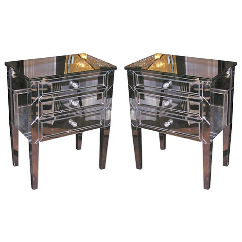 Pair of Neoclassical Modern 3-Drawer X-Front Beveled Mirror Nightstands
