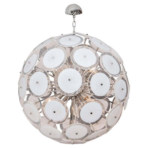 White Murano Glass Disc Sputnik Chandelier