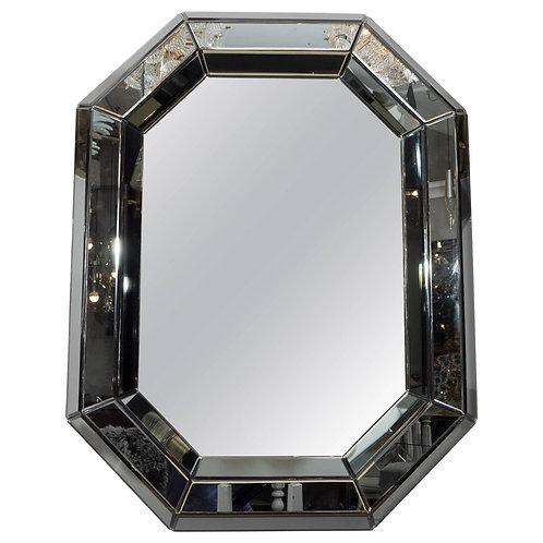 Beveled Gray Glass Octagon Mirror