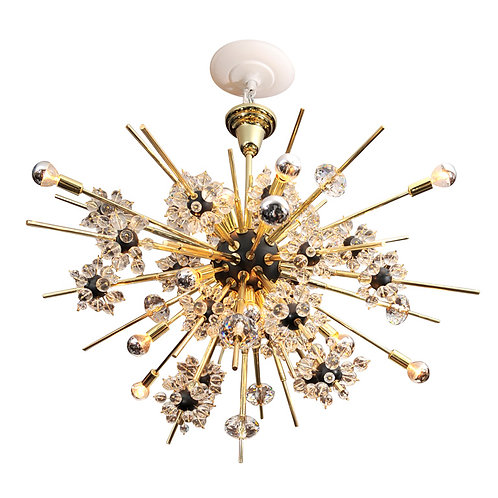 Crystal and Brass Rod Sputnik Chandelier with Black Spheres