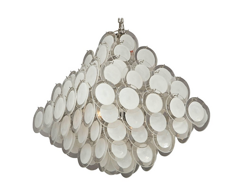 Large White Murano Glass Disc Chandelier in Double Pyramid Shape