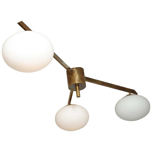 Italian Three Globe Opaline Glass Elongated Chandelier with Brass Frame
