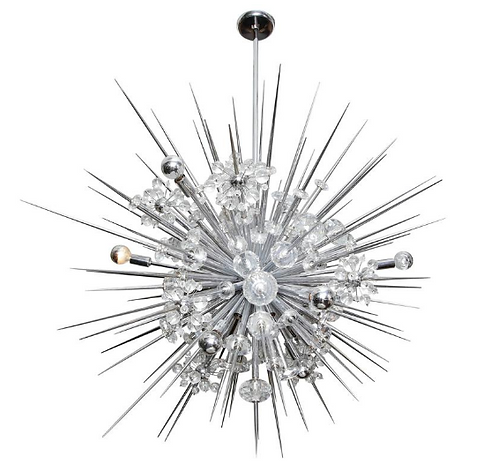 Glamorous Custom Austrian Crystal and Polished Nickel Spiked Sputnik Chandelier