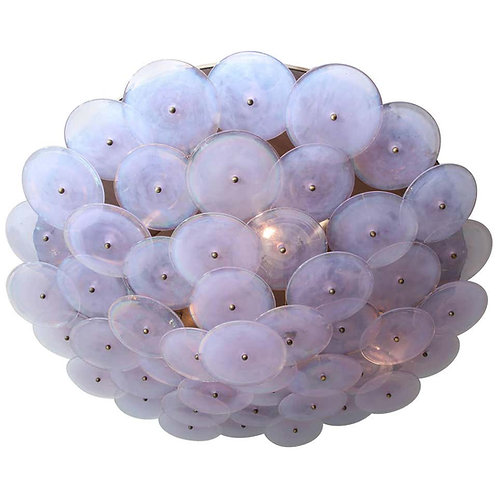 Alex Iridescent Murano Glass Disc Flush Mount Light