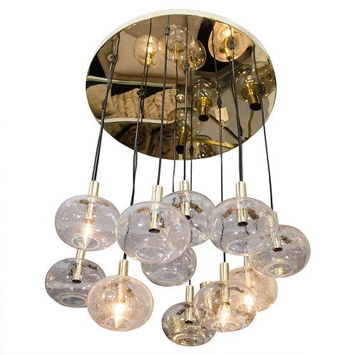 Custom Twelve-Oval Globe Chandelier with Brass Canopy
