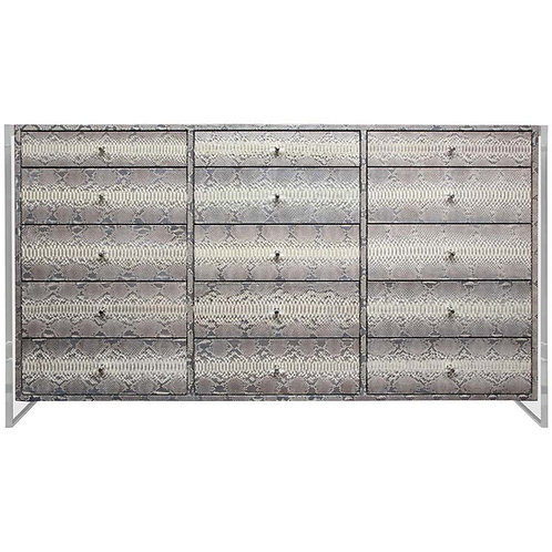 15-Drawer Python Dresser with Acrylic Side Panels
