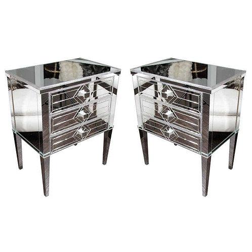 Pair of Neoclassical Modern Silver Trim 3-Drawer Diamond Mirrored Nightstands