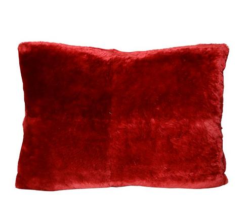 Custom Red Sheared Beaver Pillow