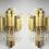 Thumbnail: Pair of Gaetano Sciolari Brutalist Sconces with Glass Tear Drops