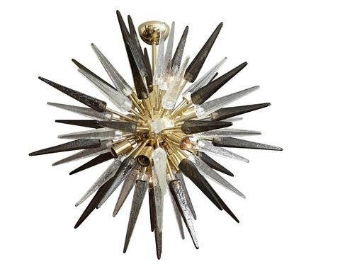 Smoke and Clear Murano Glass Spike Sputnik Chandelier