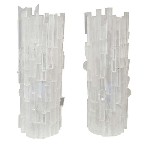Pair of Frosted Acrylic Cylinder Table Lamps