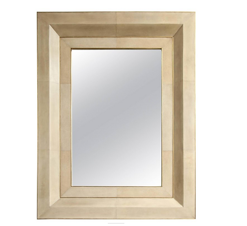 Chic Goatskin and Shagreen Mirror with Brass Trim