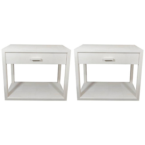 Pair of Genuine Water Grey Shagreen Side Tables