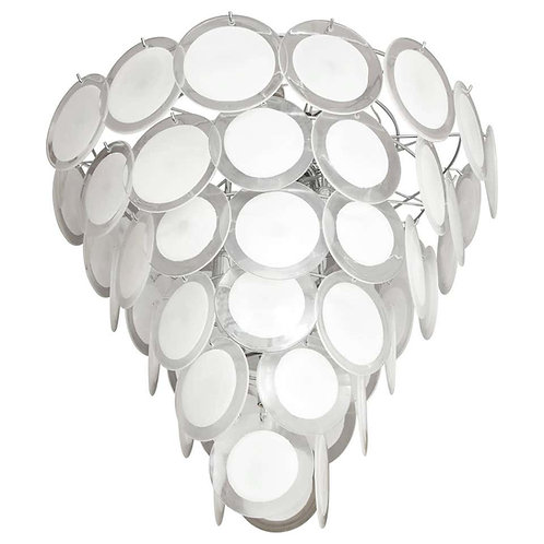 Tiered White Murano Glass Disc Chandelier