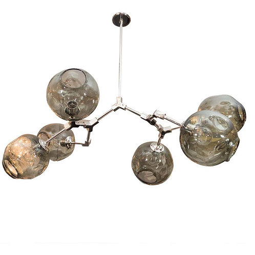 Custom Six-Globe Branch Chandelier with Smoke Glass