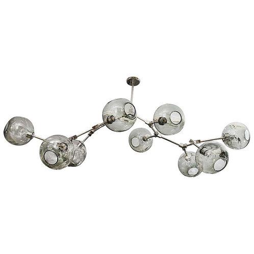Custom Nine-Globe Branch Chandelier with Smoke Glass