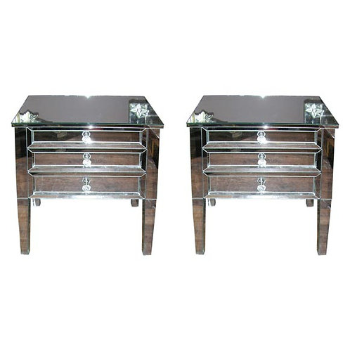 Pair of Neoclassical Modern 3-Drawer Beveled Mirrored Nightstands