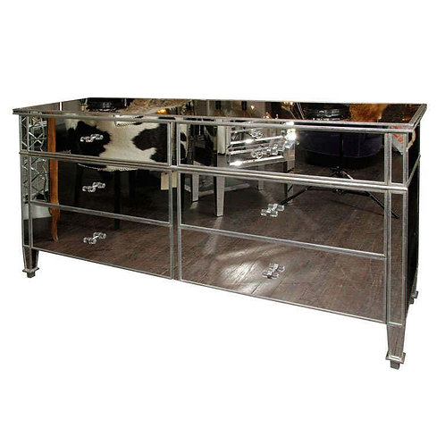 6-Drawer Silver Trim Mirrored Dresser