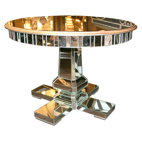 Round Mirrored Center Hall Table