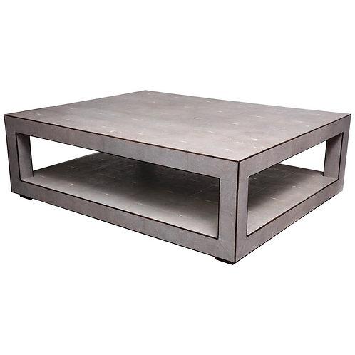 Custom Genuine Light Gray Shagreen Cocktail Table