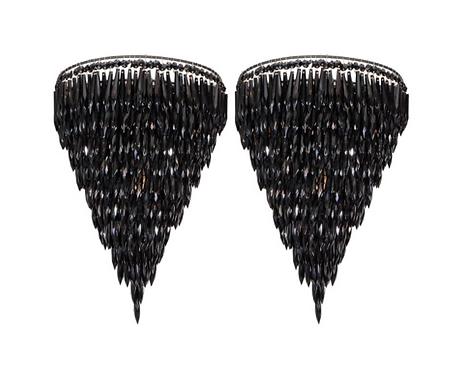Pair of Elegant Black Crystal Fringe Sconces